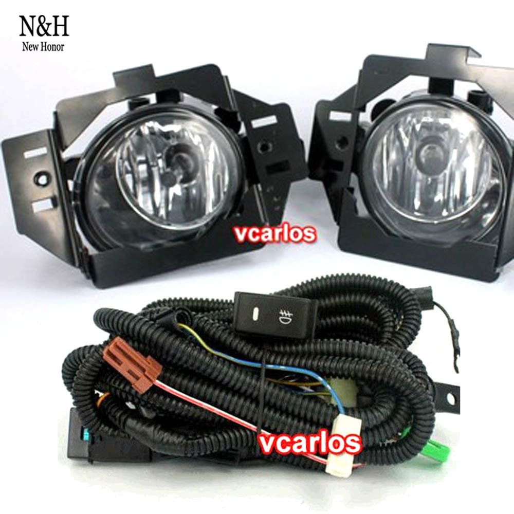 Фотография Free shipping high quality halogen fog lights lamp set for Nissan LIVINA 2007 with clear lens wiring kit