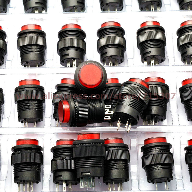 20pcs push button switch R16-503BD 16mm round shape non locking with red light 250v 3A 4pins(China (Mainland))