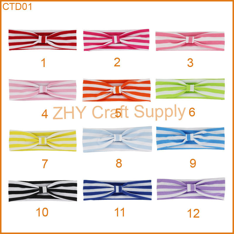 Free shipping 240pcs/lot Stripe Headwrap with Loop for baby and children newborn toddler headband Baby Size(China (Mainland))