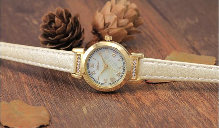 Женщин юлий Наручные Часы Япония Кварцевых Часов Лучший Моды Платье Браслет Кожаный Горный Хрусталь Оболочки Девушка Подарок На День Рождения Коробка 763