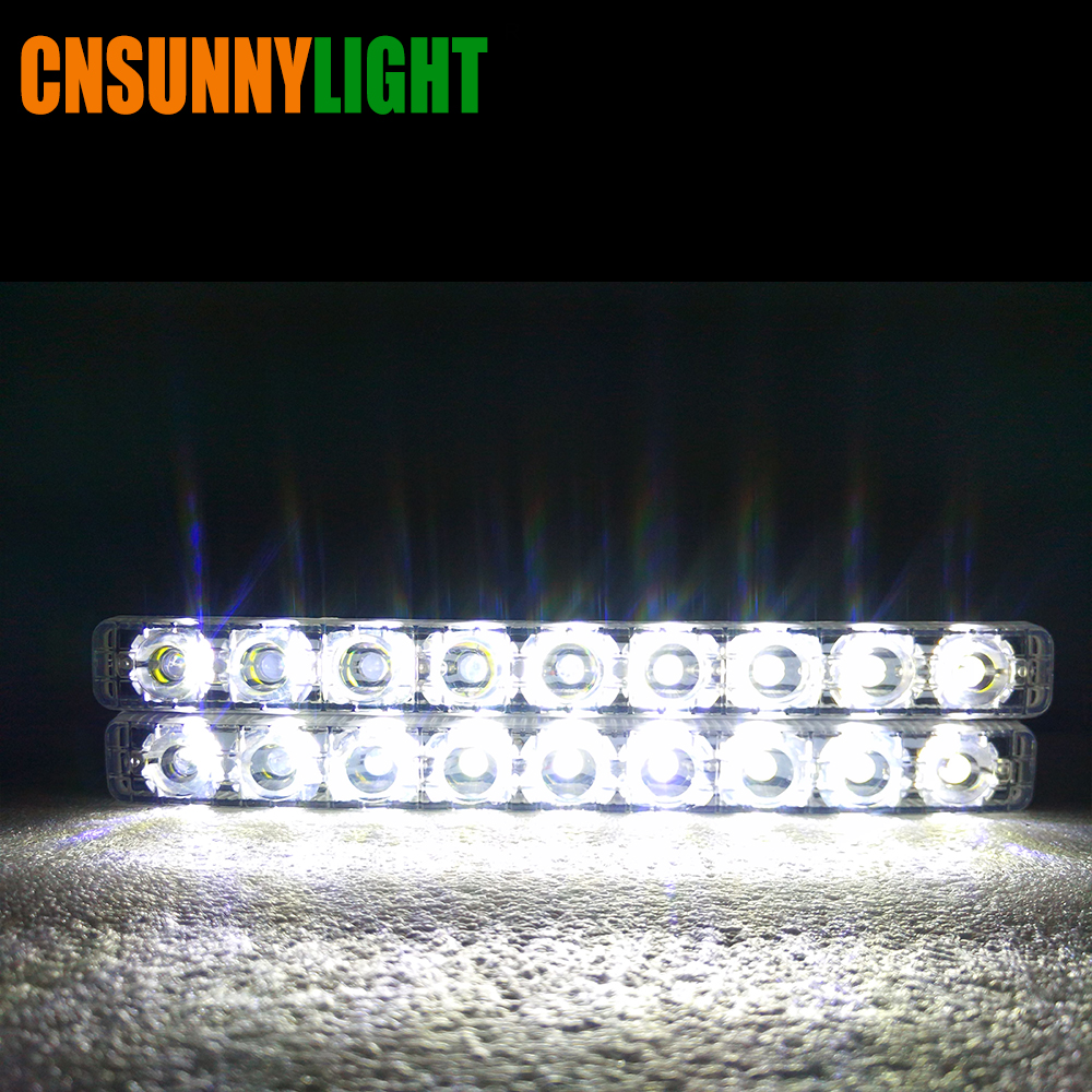CNSUNNYLIGHT LED DRL Car Daytime Running Lights Daylight Styling Automotives Led Fog light 9 LEDs Super Bright 6000K Waterproof (8)