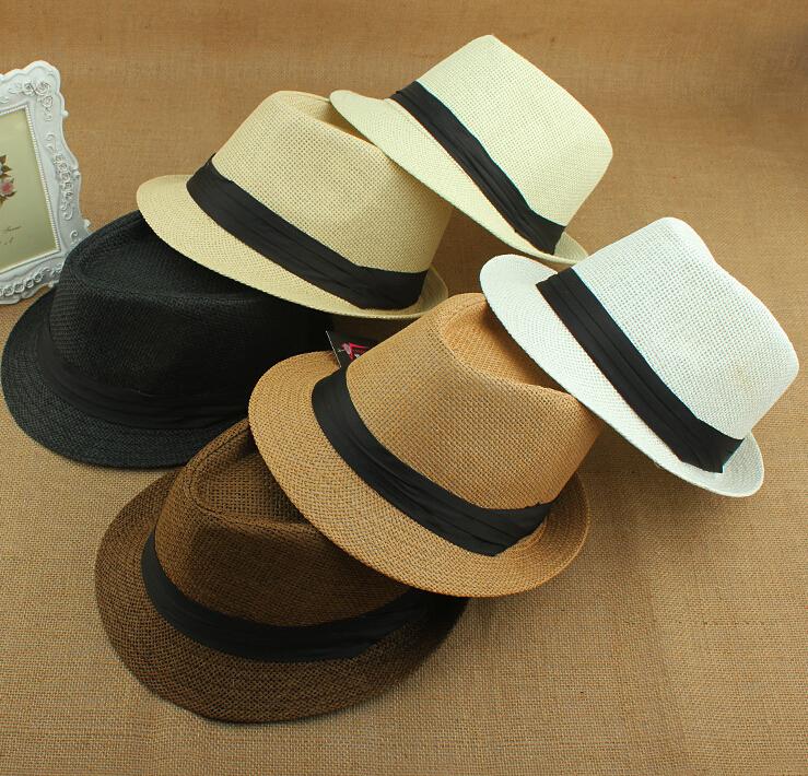 2015 Hot Sale fashion sun hats Cap Women Summer Beach Sun hat Straw Panama Hat Men Jazz Hats(China (Mainland))