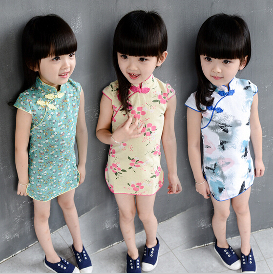Girl Dress 2015 Girl Cheongsam For Kid High Qulity Print Classic Chinese Girl Cheongsams One-Piece For Baby Girls 3Color(China (Mainland))