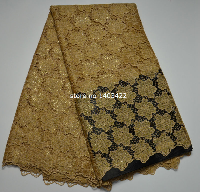 Sequin lace fabric 2016 African Guipure Lace Latest 100% Polyester Chemical Lace Water Soluble Wholesale lace online ST809(China (Mainland))