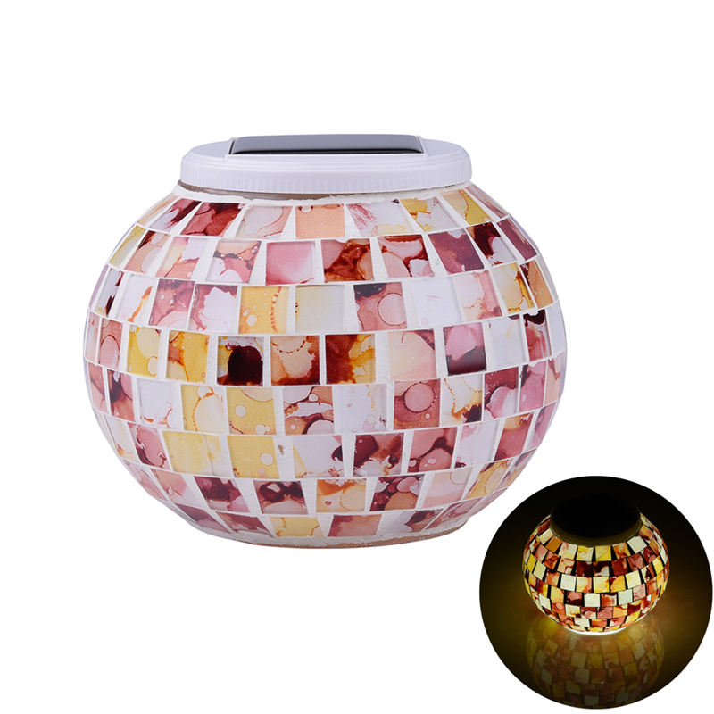 Home Deco Solar Light Flower Stone Mosaic Glass Color Changing LED Lamp Rechargeable Night Light Indoor Outdoor Decoration(China (Mainland))
