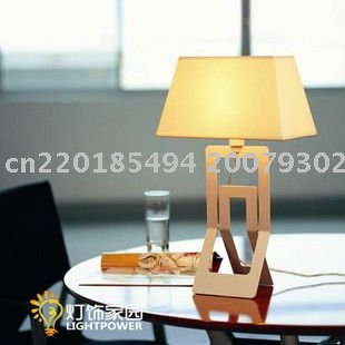 Shipping Free By EMS Modern Iron And Fabric Table Lamp For Bedroom, Studyroom, etc.(White Color)(China (Mainland))