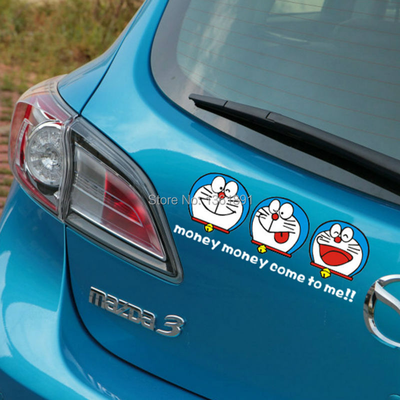 """Cute Lucky Cat Doreamon """"MONEY COME TO ME"""" Rear Side Door windshield rear car stickers Decals(China (Mainland))"""