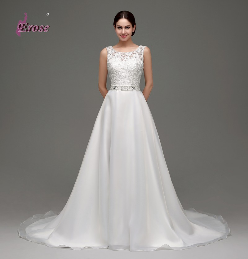 2016 White/Ivory Sheer Top Backless Wedding Dress A-line Sleeveless Tank Organza Over Satin Wedding Dress Gown ADW0008(China (Mainland))