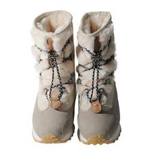 Nuevo cargador de la Nieve 2016 Mujeres Del Invierno Genuino de Piel de Oveja de Alta Superior Leather Lace Up Warm Hight el Aumento de Felpa Gruesa Dentro de Zapatos de Arranque(China (Mainland))