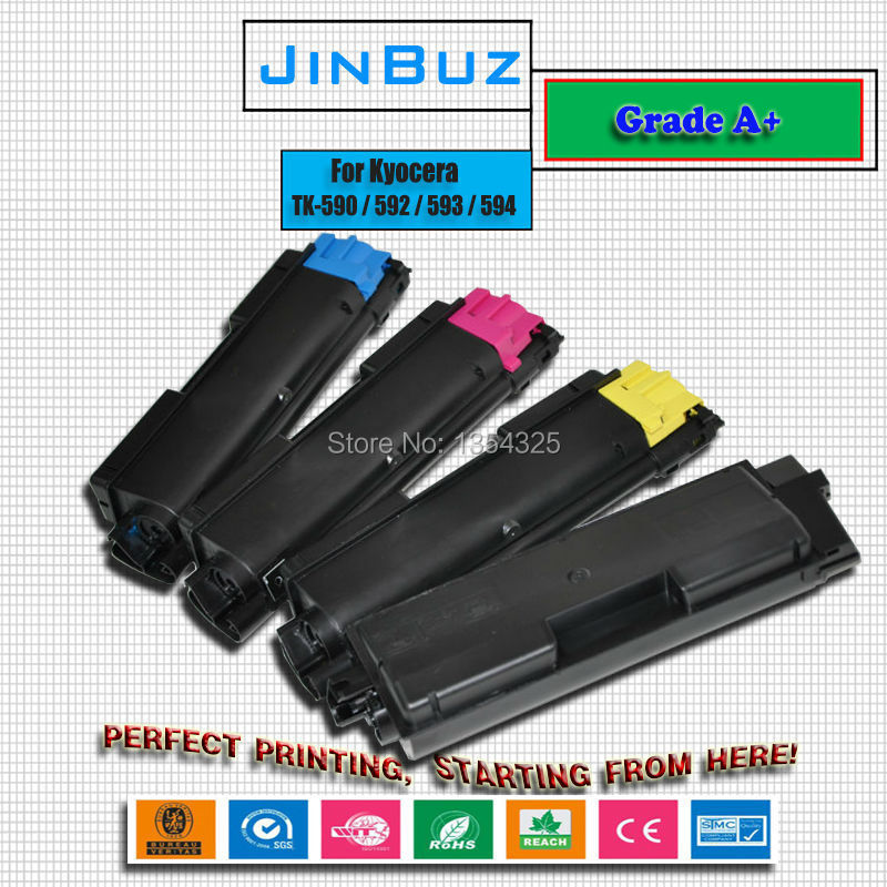 4PC Lot Compatible FS C2126MFP toner cartridge For Kyocera FS C2126MFP TK 590 TK 592 TK