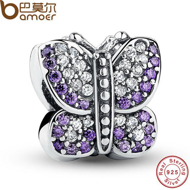 Отличный Потрясающий Стерлингового Серебра 925 Игристые Бабочка Фиолетовый CZ Животных ...