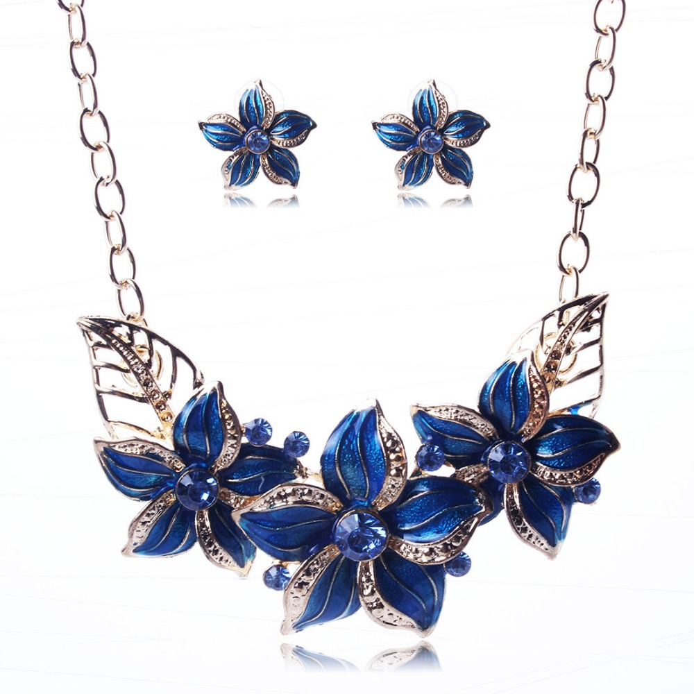 High Quality Enamel Flower Gold Necklaces Alloy Choker Necklaces Earrings Set Fashion Jewelry set wholesale A418(China (Mainland))