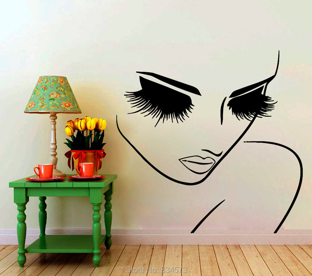 Woman hairdressing hair beauty salon wall art sticker decal home diy decorati - Decoration mural salon ...