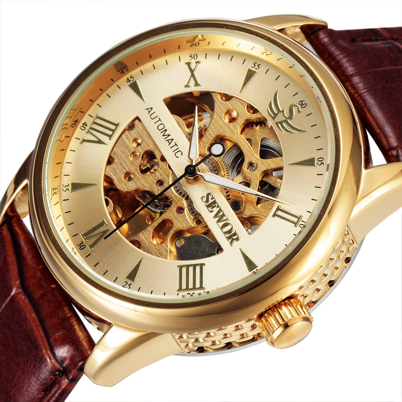 SEWOR Skeleton Mechanical Gold Watch Men Leather Strap Brand Clock Luxury Brand Automatic 2016 Fashion Relogio Wristwatch SWQ22(China (Mainland))