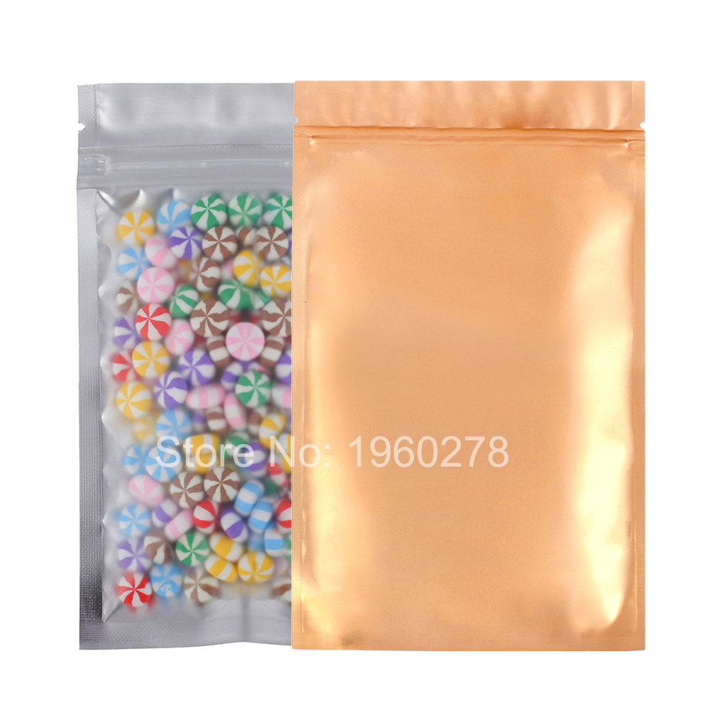 12x20cm (4.75x7.75in) 100pcs front matte flat bottom Gold Mylar ziplock bags Translucent Aluminium foil Zip Lock Bag(China (Mainland))
