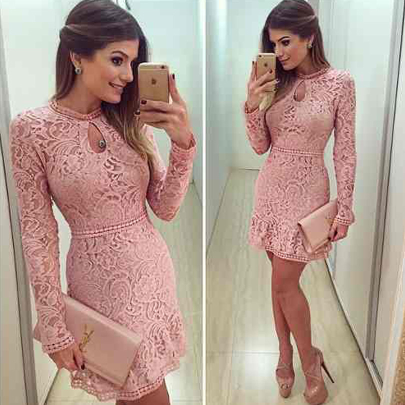 2016 New Arrival Women Fashion Casual Lace Dress O-Neck Sleeve Pink Evening Party Sexy Dresses WDR0051Одежда и ак�е��уары<br><br><br>Aliexpress