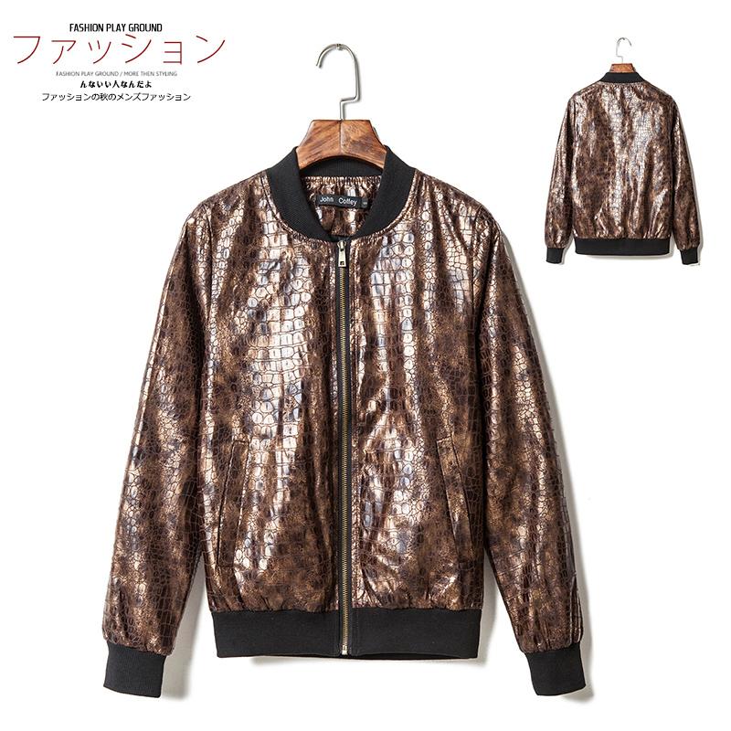 2015 hombres de los nuevos hombres noche japonesa hombre de los animales patrón de piel de serpiente de la cremallera de la chaqueta japonés camisa del béisbol(China (Mainland))