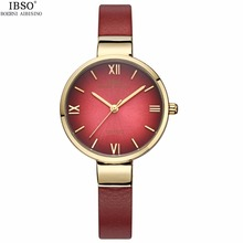 2017 Top Luxury Gold Women Bracelet Watches Lady Antique Quartz IBSO Brand Dress Waterproof Leather Wrist watch Relogio Feminino