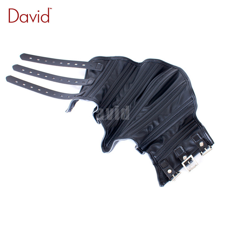 David Dog Pig Slave Black Leather Shut Up Gear Adjustable Straps Buckle Belt Chin Lock Mouth