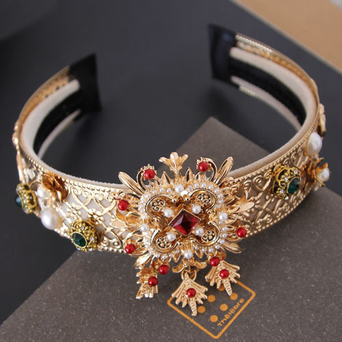 Fashion Sexy Baroque wide Gem Pearl cross Hairbands for women Wedding Crown hair accessories fashion bridal Tiaras(China (Mainland))