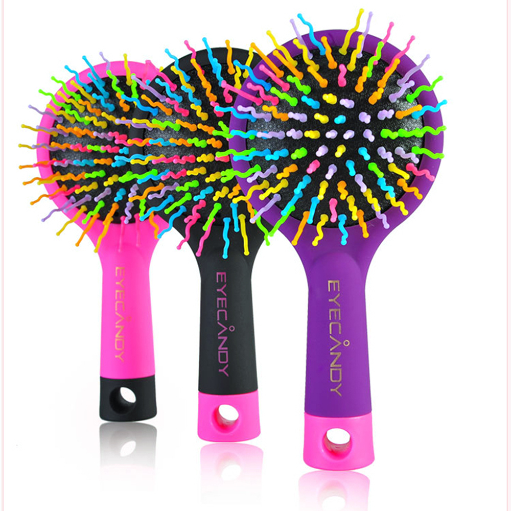 LKE Magic Hair Comb Brush Rainbow Volume Styling Tools Anti Tangle Anti-static Head Massager Hairbrush With Mirror(China (Mainland))