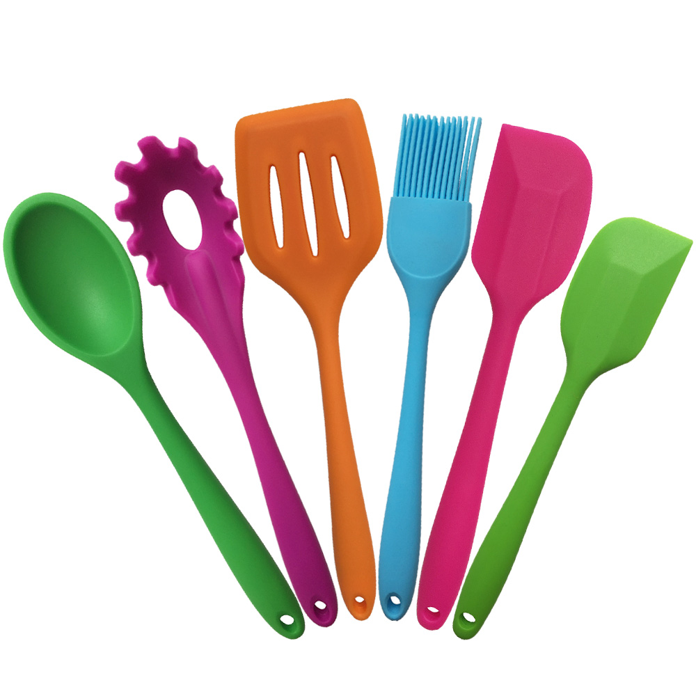 New Kitchen Cooking Tools Coated Iron And Silicone Cookware Spatula And Spoon Colorful Kitchenware 6 Style(China (Mainland))