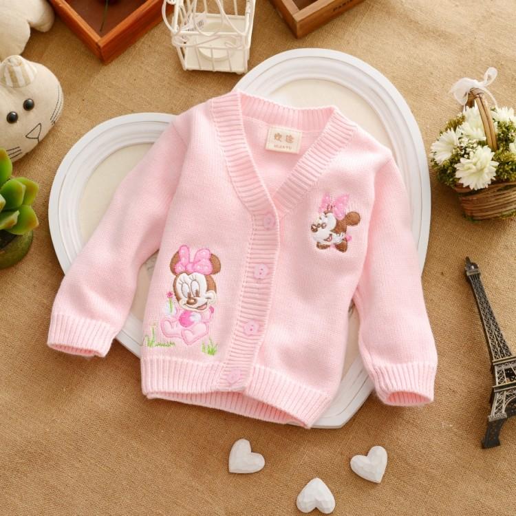 Free shipping infant sweater baby sweater cotton 100% MINNIE children newborn cardigan pink rose