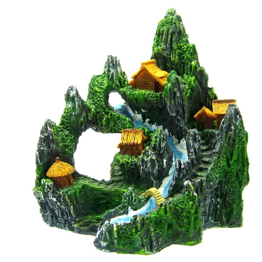 Mountain view river m aquarium ornament decor tree house for Aquarium bridge decoration