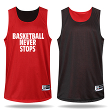 2016 Men's Basketball Reversible Clothes Suits Sportswear Breathable Jersey and Shorts Set (red/black)
