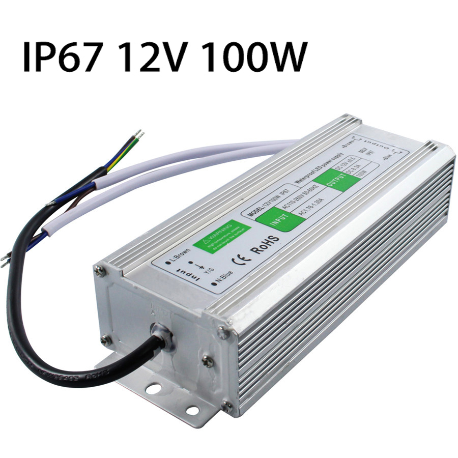 DC 12V 100W IP67 Waterproof LED Driver AC100-260V To DC 12V LED Driver Switch Transformer Outdoor Lighting Power Supply <br><br>Aliexpress