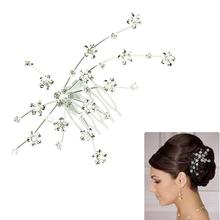 FashionStory Silver Personality Gem Crystal Wedding Bridal Jewelry Princess Hair Comb Jewelry Accessories jr12(China (Mainland))