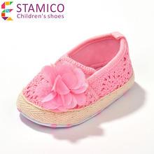 Baby Girl's Shoes White Pink net yarn soft flats elastic flower decor sapatos de bebe menina(China (Mainland))
