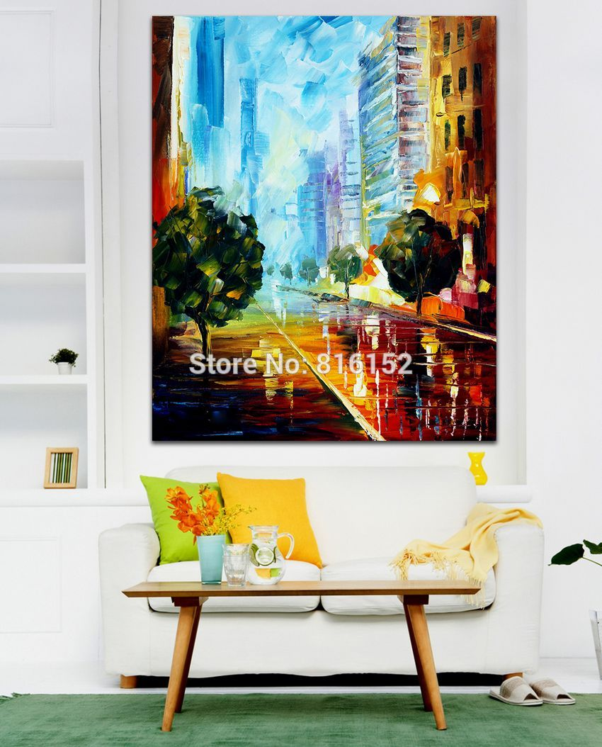 Buy Attractive City Building 100% Hand-painted Palette Knife Canvas Painting Architecture Art Picture Living Room Bedroom Decoration cheap