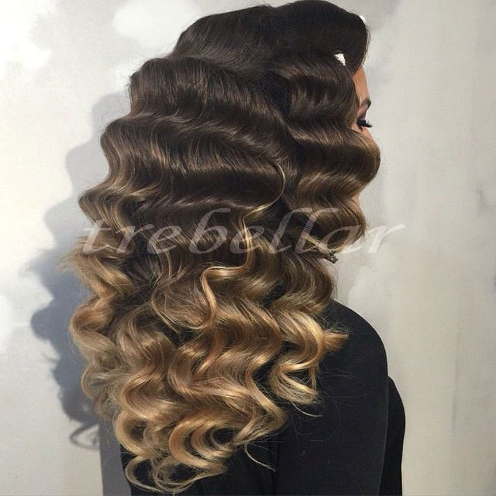 180% Density Deep Wave Full Lace Ombre Wig Deep Curly Lace Front Human Hair Three Tone Ombre Lace Wig Virgin Lace Deep Wave Wig(China (Mainland))