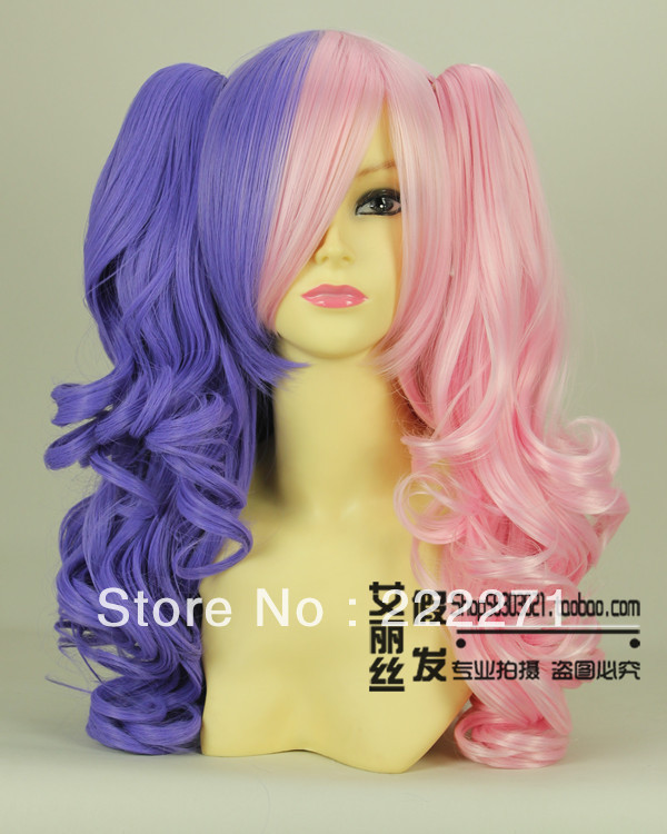 FREE SHIPPING Lolita Gradient Long Wavy Multi-Color Pink Purple Full Lace Cosplay Wig Ponytail Costume Heatable Anime + Cap<br><br>Aliexpress