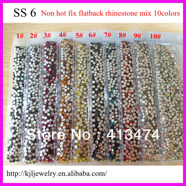 14400PCS SS6 2MM Mix 10 color AAA High Quality Iridescent nail art crystal rhinestone flat back Non Hot Fix Glue on Rhinestones(China (Mainland))