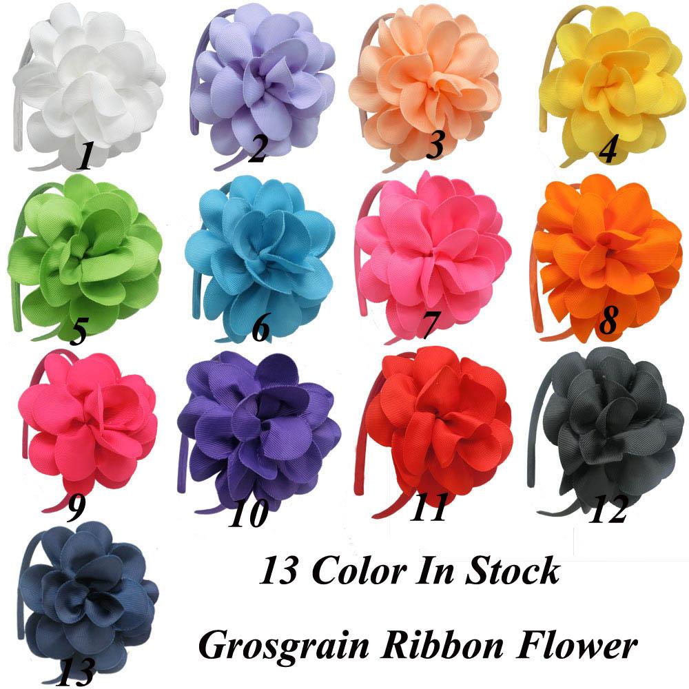 26 Pcs/lot Fashion Handmade Solid Flower Hairband For Baby Children Grosgrain Ribbon Hard Hairband Girls Flower Hair Accessories(China (Mainland))