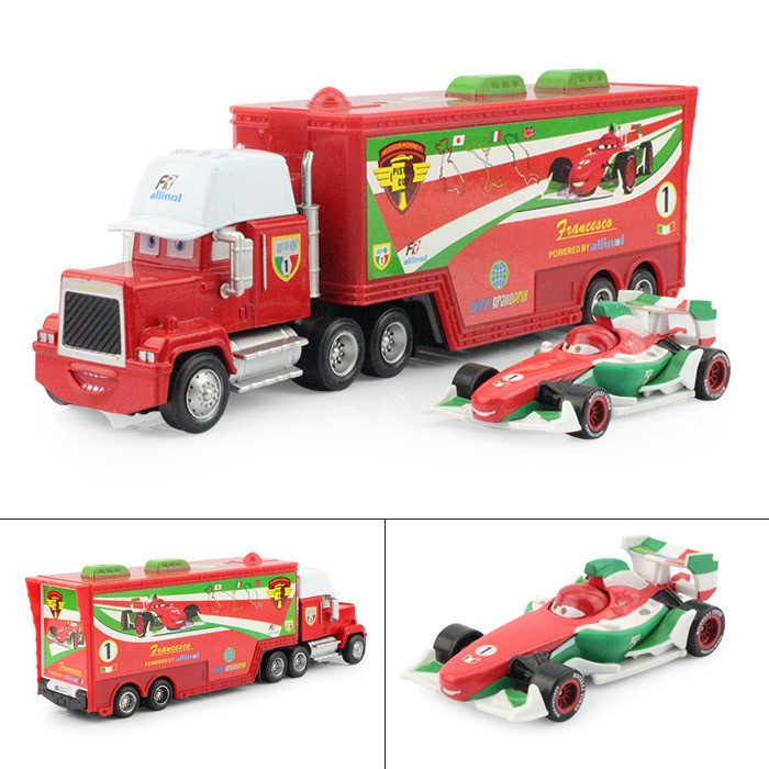 Pixar cars 2 Toys Diecast metal Mack car plastic truck F1 Francesco Bernoulli Hauler+Small Racing Free Shipping 2Pcs/Lot(China (Mainland))
