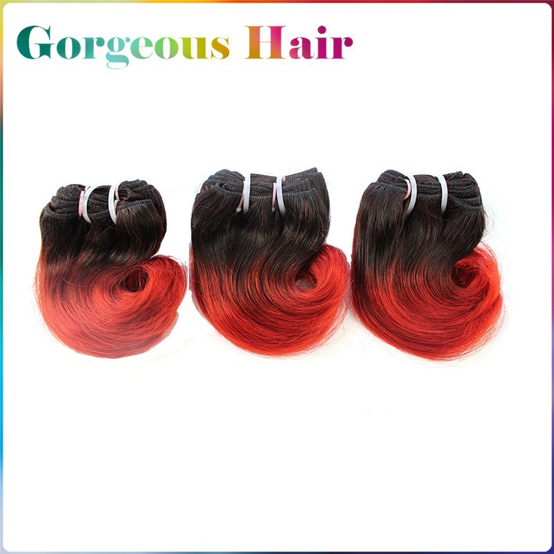 6pcs Lot 300g Total Body Wave Ombre Hair Extensions Color#1B/Red Length 8″ 6A Short  Ombre Virgin Hair Weave Short Hair Weft