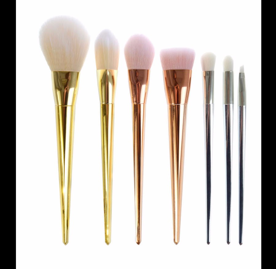 9 Makeup Brushes Real Techniques Style Gold 2 pcs Synthetic Hair