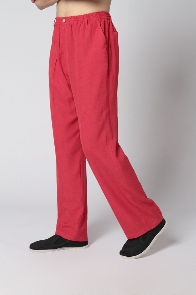 Burgundy Spring New Chinese Men's Linen Kung Fu Trousers Size S M L XL XXL XXXL Free Shipping 2350-12(China (Mainland))
