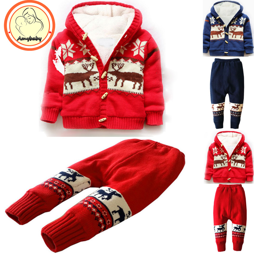Childen autumn Winter Baby boy Girl suit  set jacket  Jersey Soft coral kids sweater  Christmas Deer Thicken Hooded Warm Clothes<br><br>Aliexpress