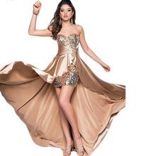 Plus Size S-XXL Sexy Strapless Crystal Evening Dress Short Robe De High Low Irregular Hem 8 Colors Vestido De Coctel Sexy CK49(China (Mainland))