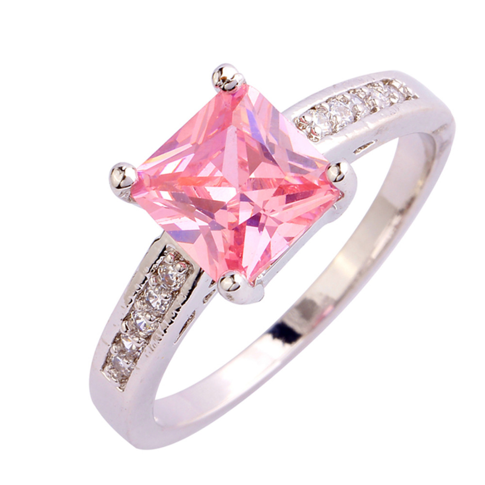 New Fashion Jewelry Pink Topaz Silver Ring Size 7 8 9 10 Stylish Elegant Princess Cut Gift For