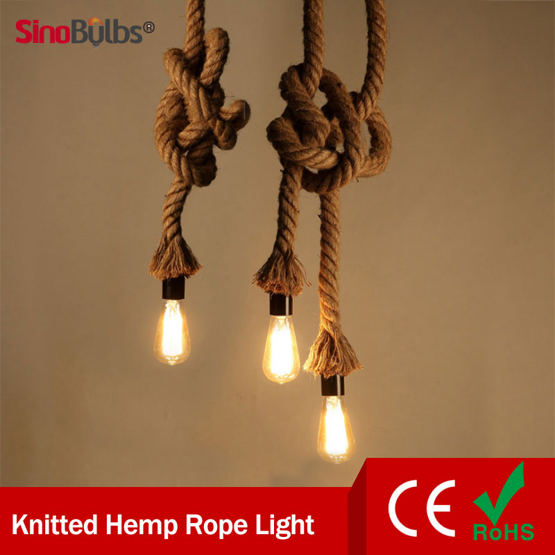 2 Styles Retro Rope Pendant Light Loft Vintage Lamp Restaurant Bedroom Pendant Lamp Hand Knitted Hemp Rope Light(China (Mainland))