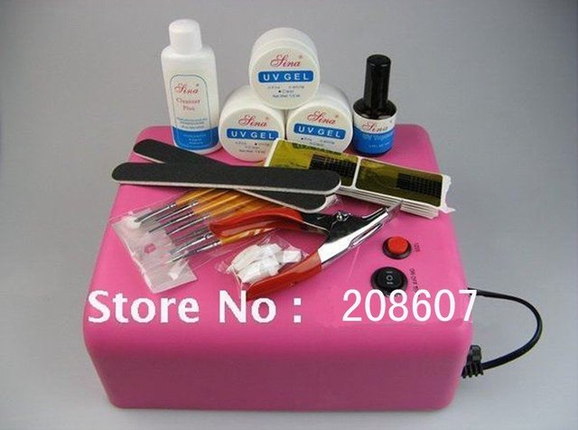 36w UV Lamp Machine+ 4tubes Freeshipping Professional UV Gel Full Set&Kit Nail Art Brush /Glue /File/ Cleanser/Buffer/Topcoat