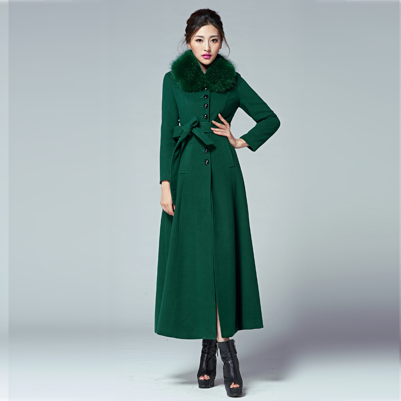 2015 Hot Fashion women long coat single breasted wool plus size stand collar autumn winter coats woolen trench - NATIONAL FASHION LADY store