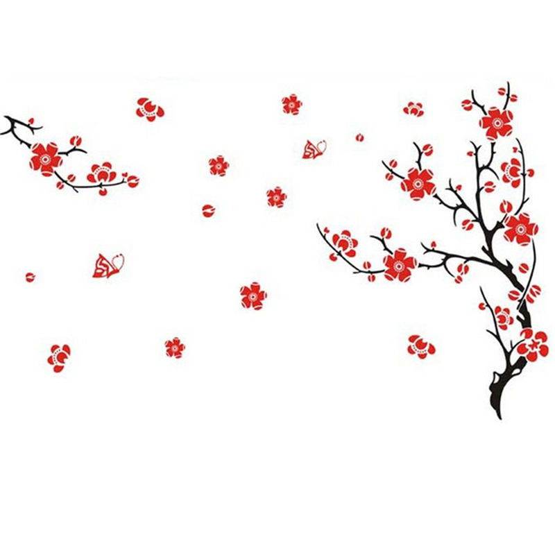 DIY PVC Blossom Flowers Tree Wall Stickers Removeable Home Mural Art Decal Decor Dry Dust Free Surface(China (Mainland))