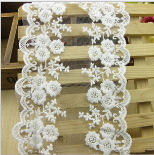 NEW White lace ribbon 30 Yards 12cm cotton lace Trim Embroidered Lace Venice Floral Wide Scallop Bridal Lace Wedding Lace Ribbon
