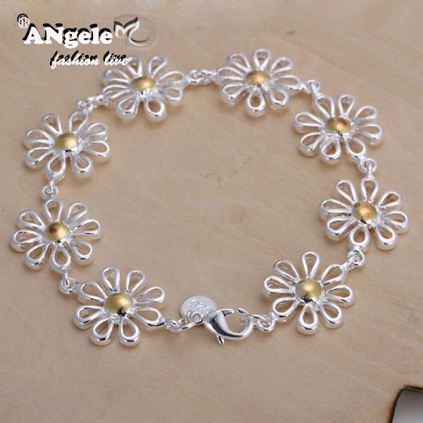 2015 Popular New Arrival Beautiful Women Dichroic Daisy Bracelets Sterling Silver Jewelry Fashion Bracelet Wholesale(China (Mainland))